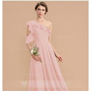 A-Line One-Shoulder Floor-Length Bridesmaids Dress